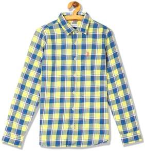 U.S. Polo Assn. Boy Cotton Checked Shirt Yellow