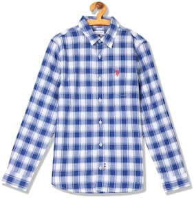 U.S. Polo Assn. Boy Cotton Checked Shirt Blue