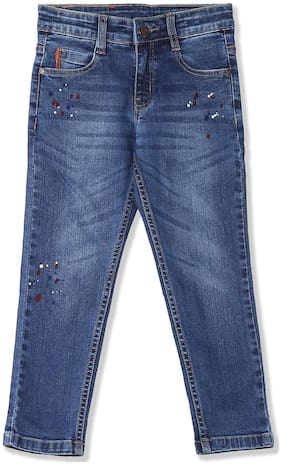 Boys Slim Fit Whiskered Jeans