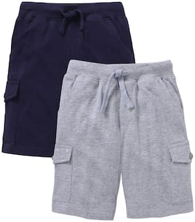 KiddoPanti Boy Solid Shorts & 3/4ths - Grey