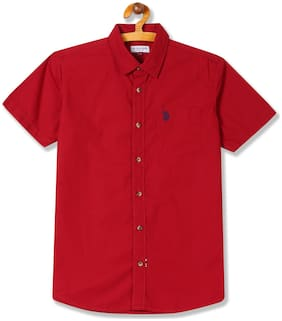 U.S. Polo Assn. Boy Cotton Solid Shirt Red