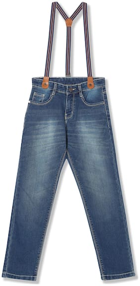 Boys Stone Wash Jeans with Suspenders
