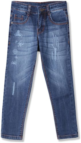Boys Stone Wash Printed Jeans