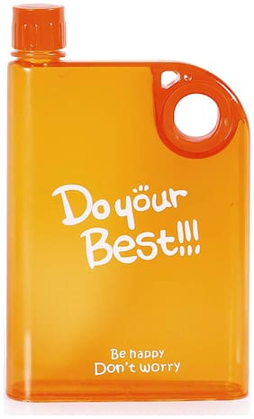 Bpa-Free Plastic Water Bottle Reusable Notebook Style From Pikaboo ( Orange )