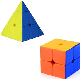 Brainstorming High Puzzle Speed Magic Striker-less Rubik combo Cube Set Of 2 (Triangle Cue &  2x2x2 Cube)