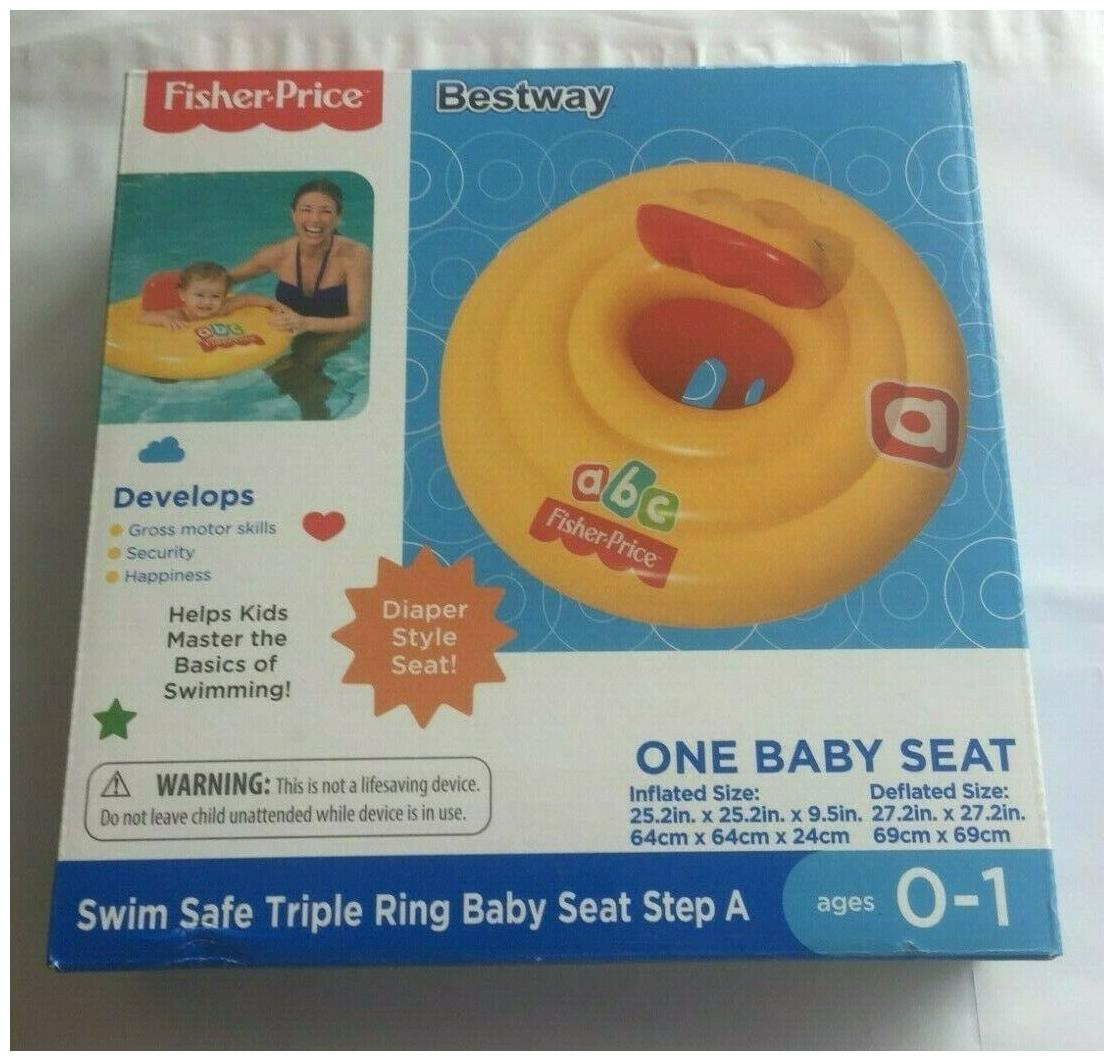 Brand New Fisher Price Safe Swim Triple Ring ABC Baby Seat Pool Float Ages 0 1