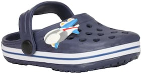 Buckled Up Dark Blue Clogs with Plane motif.