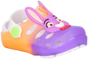 Buckled Up Purple and Orange bunny clogs.