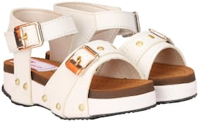 Buckled UP White Sandals For Infants