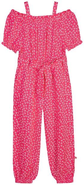 Budding Bees Girls Pink Floral Cold Shoulder Jumpsuit