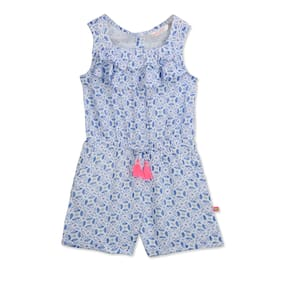 Budding Bees Rayon Floral Dungaree For Girl - Blue