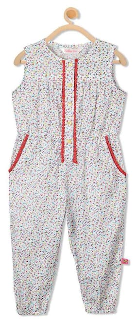 Budding Bees Baby Girl Cotton Solid Jumpsuit - Cream 0d98ae406