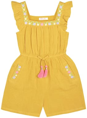 Budding Bees Girls Embroidered Jumpsuit-Mustard