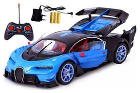 Bugatti Style Remote Control Rechargeable Car With Opening Doors For Kids (Blue).