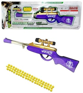 BULLET GUN TOY RIFLE WITH SOFT RUBBER BULLETS.