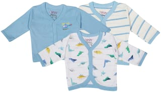 BUMZEE Knitted Printed T shirt for Unisex Infants - Blue