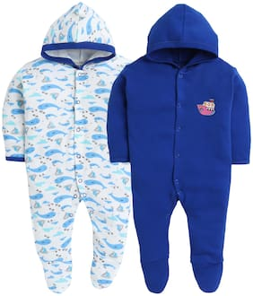 BUMZEE Blue & White Full Sleeve Sleepsuit With Hood For Baby Boys Pack Of 2 Age - 9-12 Months