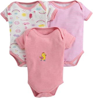 BUMZEE Unisex Knitted Printed Body suit - Pink
