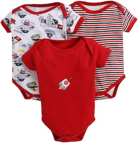 BUMZEE Unisex Knitted Printed Body suit - Red
