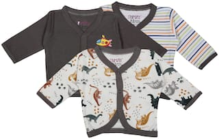 BUMZEE Knitted Printed T shirt for Unisex Infants - Brown