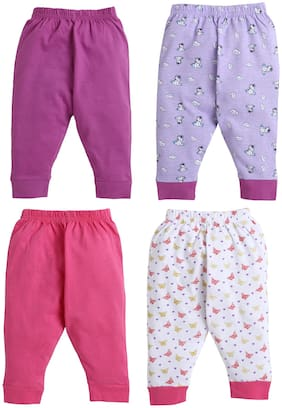 BUMZEE Dark Pink & Purple Full Length Pajamas For Baby Girls Pack Of 4 Age - 12-18 Months