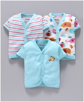 BUMZEE Cotton Solid T shirt for Unisex Infants - Blue