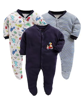 BUMZEE Unisex Knitted Printed Sleep suit - Blue & White