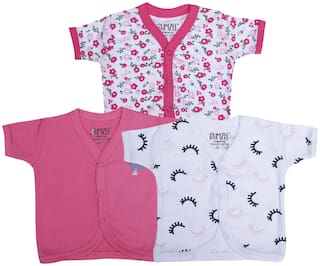 BUMZEE Knitted Printed T shirt for Unisex Infants - Pink & White