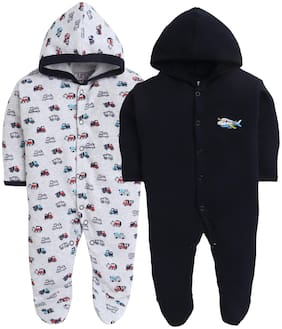 BUMZEE Navy & Grey Full Sleeve Sleepsuit With Hood For Baby Boys Pack Of 2 Age - New Born