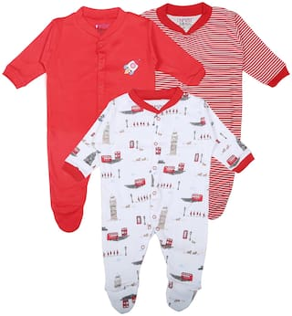 BUMZEE Unisex Knitted Printed Sleep suit - Red