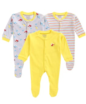 BUMZEE Unisex Knitted Printed Sleep suit - Yellow