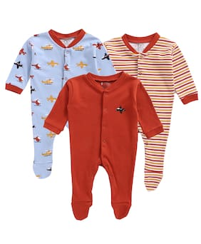 BUMZEE Unisex Knitted Printed Sleep suit - Red