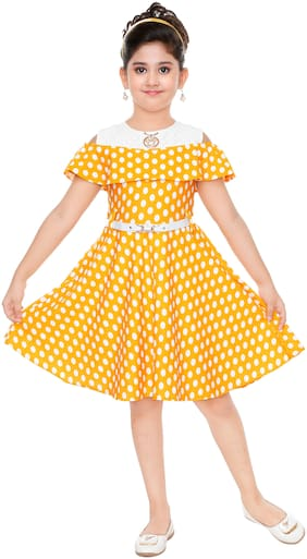 18e8e2191cc BURBN Girl Blended Polka Dots Frock - Yellow