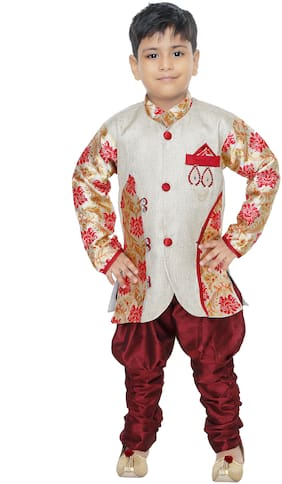 BURBN Boy Art silk Self design Sherwani - Red