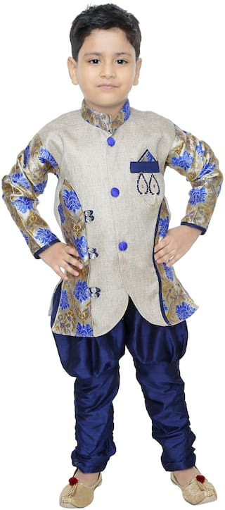BURBN Boy Art silk Self design Sherwani - Blue