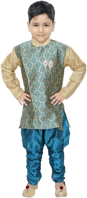 BURBN Boy Art silk Self design Sherwani - Green