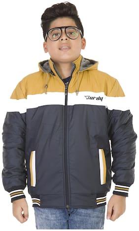 BURDY Boy Polyester Solid Winter jacket - Blue