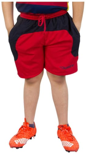 BURDY Solid Boy's Red Sports Shorts