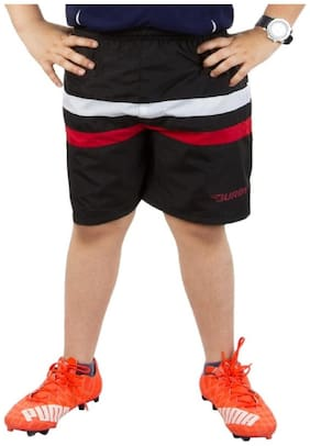 BURDY Striped Boy's Black Sports Shorts