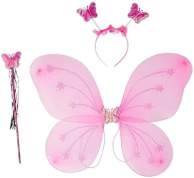 Butterfly Wings Magic Wand and Hairband Fairy Costume Set, Size - 35/35 cm