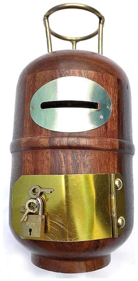 BuyCrafts Wooden Handmade Cylinder Shape Money Bank with Lock (Brown, Standard Size)