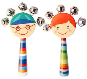 BuzyKart Colorful Wooden Rainbow Handle Jingle Bell Rattle Toy With Top Round Face - Set Of Two