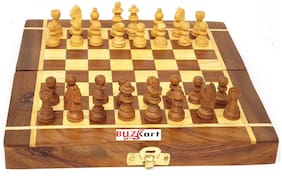 BuzyKart Folding Wooden Chess Board Set Game Handmade Small Chess pcs 8 inch (Non - Magnetic)