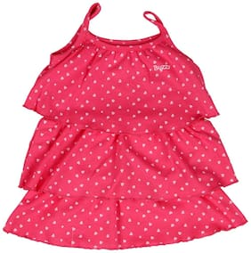 Buzzy Baby girl Cotton Printed Princess frock - Pink