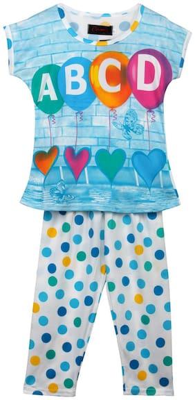 Camey Cotton Printed Short sleeves Top & pyjama set - Blue