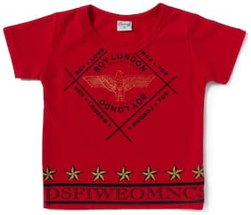 Camey Boy Cotton Printed T-shirt - Red