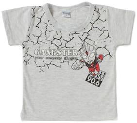 Camey Boy Cotton Printed T-shirt - Grey