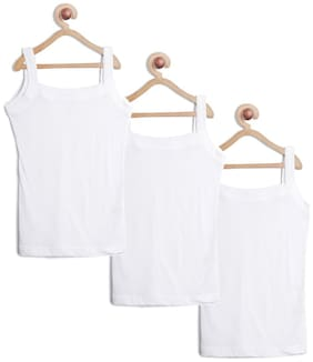 Leading Lady Vest for Girls - White , Set of 3