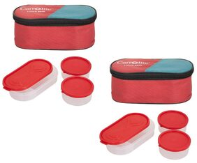 Carrolite Combo 3 in 1 Red Plastic Lunch Box