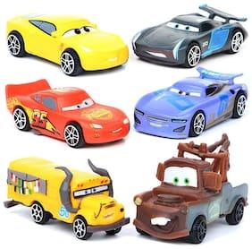Cars Set Of 6 pcs. Lightning McQueen, Tow Mater, Jackson Storm , Sally Carrera, Miss Fritter, Cruz Ramirez 7 Cms. Pull Back And Run Action Figure